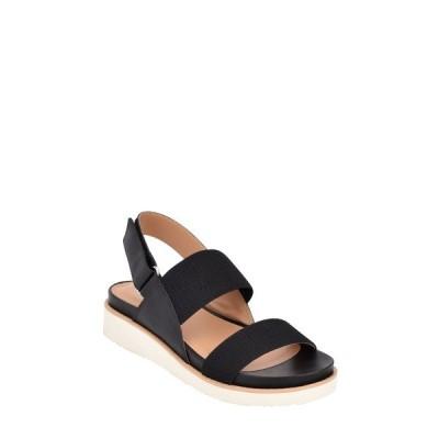 イヴァルヴ サンダル シューズ レディース Wren Quarter Strap Wedge Sandal Black Leather