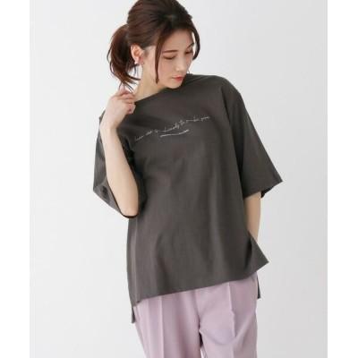SHOO・LA・RUE/シューラルー ロゴTシャツ チャコールグレー(014) 03(L)
