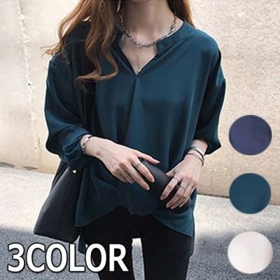 送料無料 ブラウス シャツ レディース ゆったり 体型カバー 長袖 きれいめ トップス ビジネス ホワイト グリーン ブルー M L XL 2XL 3XL