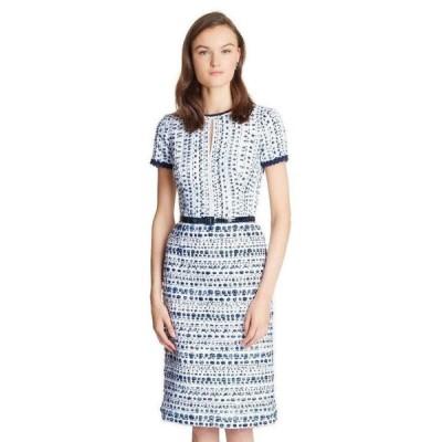 ワンピース オスカーデラレンタ Oscar de la Renta Tweed Keyhole Space Dye Pencil Dress Blue White 8