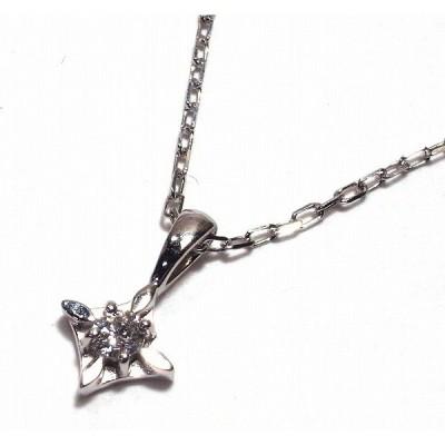 K10WG(ホワイトゴールド) ダイヤモンド ネックレス ペンダント 小粒 0.03ct