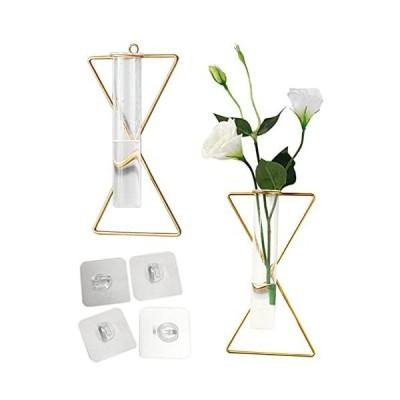 nullie 壁掛け 一輪挿し 花瓶 ガラス管 砂時計型 多肉植物 エアプランツ 2点セット