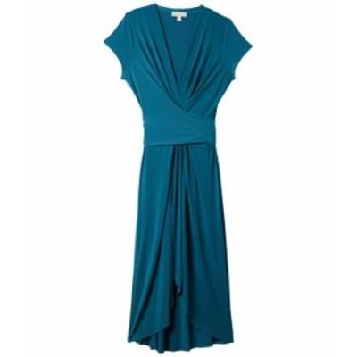 マイケルコース レディース ワンピース トップス Plus Size Cap Sleeve Maxi Wrap Dress Dark Cyan