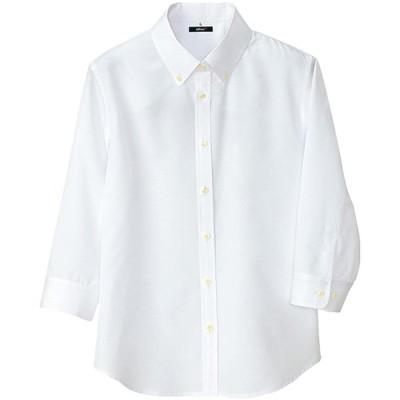 AITOZ | レディース七分袖シャツ 【軽量ワッフル/吸汗速乾】 #AZ-8057 ホワイト 3L