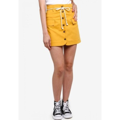 サムシングボロウド Something Borrowed レディース ミニスカート スカート Paperbag Button Down Cord Tie Skirt Mustard