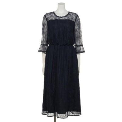 【Rewde】レースフレア袖ドレス(0R04-D140) (ネイビー)