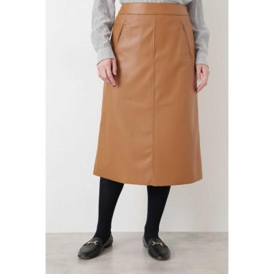 ◆シンラムキッドフェイクレザースカート キャメル1
