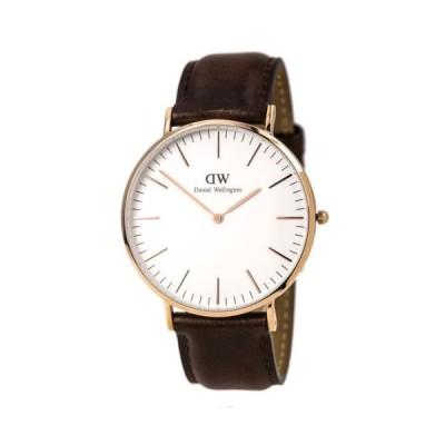 腕時計 ダニエルウェリントン Daniel Wellington 0109DW Men's White Dial Dark Brown Strap Watch