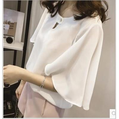 大きいサイズ M-4XL 韓国ファッション 半袖 シフォンブラウス レディース シャツ上着 超高品質ブラウス カジュアル オフィス エレガント 着瘦せ 通勤 無地 カジュアル/可愛い シャツ