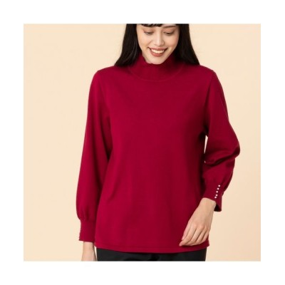 MISSEL/ミゼール パール付きフリル襟セーター レッド L