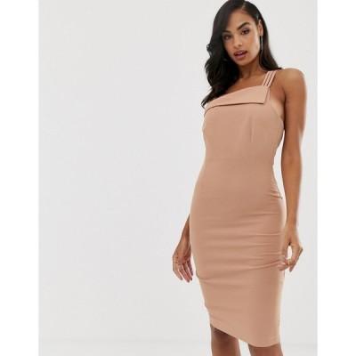 ベスパー ミディドレス レディース Vesper strappy one shoulder dress in macaroon エイソス ASOS