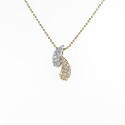 【中古品】K18YG/PT パヴェ ダイヤモンドネックレス