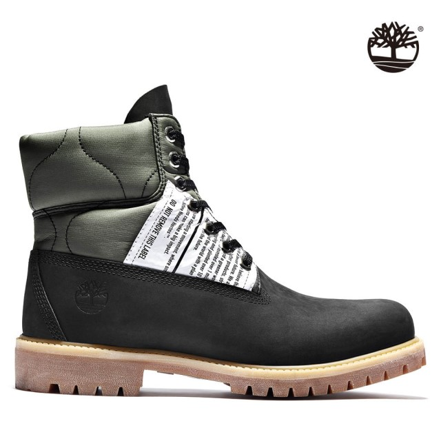 Timberland 男款軍綠黑摩砂革地球守護者拼接6吋靴|A2PXD001
