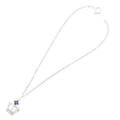 本物 クラウン モチーフ サファイア サファイヤ 4P 4石 ダイヤモンド 750 WG K18 18金 18K ブレスレット ホワイトゴールド ブルー 青 中古