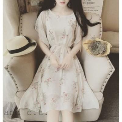 ドレスワンピ 春夏半袖花柄ネクタイベルトウエスト花シフォンドレスビーチスカート  S-2XL 2色展開