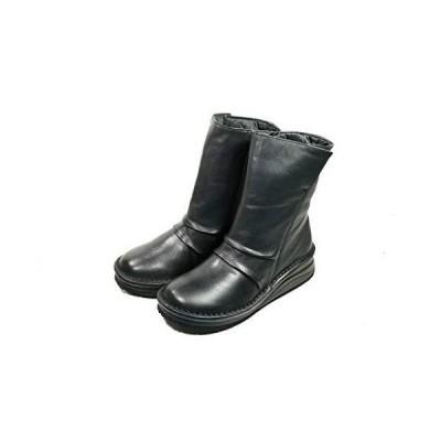 ユリコマツモト ブーツ 本革 日本製 ショートブーツ しわしわ シャーリング (22.5cm, 黒)