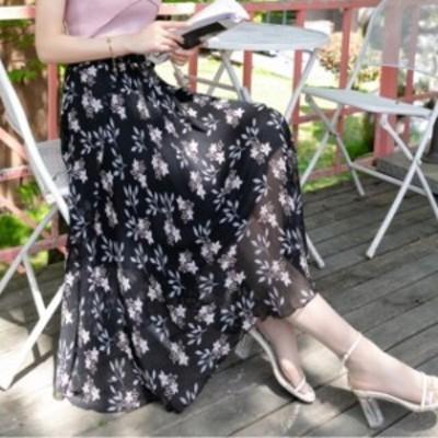 スカート 春 大きな花柄 マキシ丈スカート 超ロングスカート ベージュ×レッド ウエストゴム 大人可愛い フェミニン ガーリー  エレガン