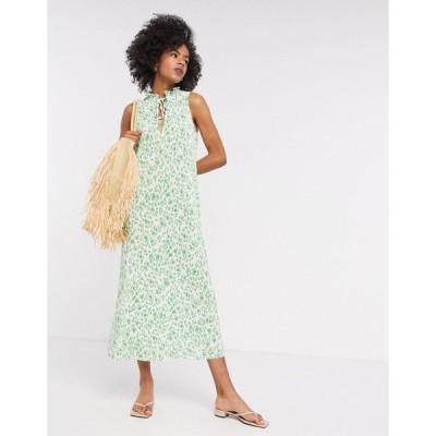 エイソス ミディドレス レディース ASOS DESIGN plisse midi dress with frill neck in green floral エイソス ASOS グリーン 緑