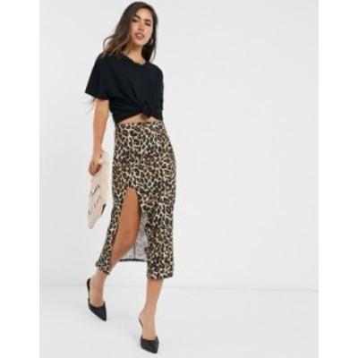 エイソス レディース スカート ボトムス ASOS DESIGN midi thigh split skirt in leopard print Multi