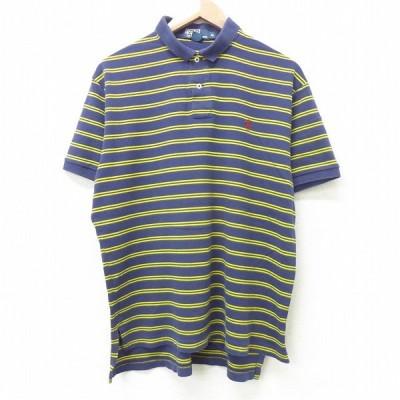 XL/古着 ラルフローレン Ralph Lauren 半袖 ポロ シャツ メンズ 90s ワンポイントロゴ 大きいサイズ コットン 紺他 ネイビー ボーダー 21jun07 中古 トップス