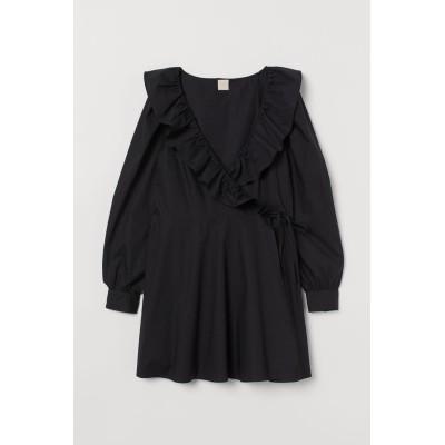 H&M - ラッフルラップドレス - ブラック