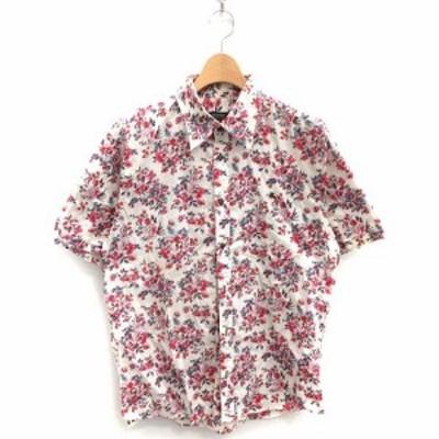 【中古】バーバリーブラックレーベル BURBERRY BLACK LABEL シャツ 半袖 花柄 総柄 コットン 3 白 赤 /MF41 メンズ