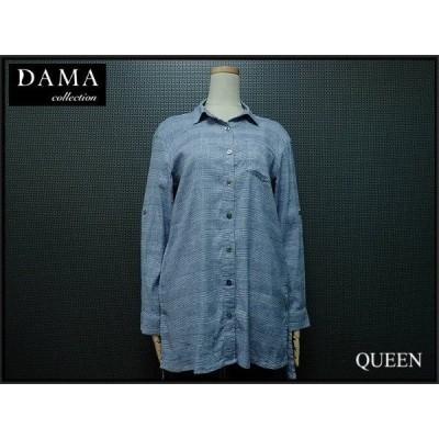 DAMA collection ロングシャツ・M▼ダーマコレクション/チュニックシャツ シャツワンピース/麻 リネン×レーヨン/グレンチェック¨