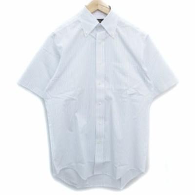【中古】リーガル Yシャツ ワイシャツ ドレスシャツ 半袖 ボタンダウン 透け感 ストライプ柄 38 白 青 /FF40 メンズ