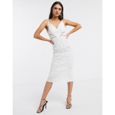 エイソス レディース ワンピース トップス ASOS DESIGN lace midi dress with ladder trim detail in white White