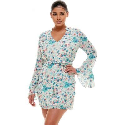 ベベ Bebe レディース ワンピース Aライン ワンピース・ドレス Tiered Ruffle Sleeve Print Dress Blue/Pink