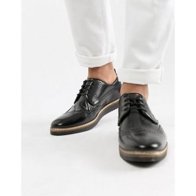 エイソス メンズ スリッポン・ローファー シューズ ASOS DESIGN brogue shoes in black leather with wedge sole