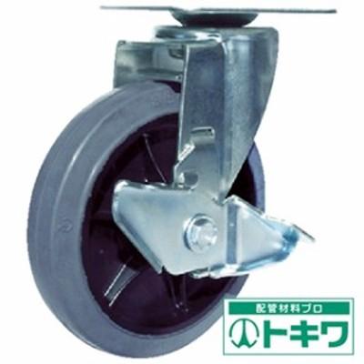ユーエイ 産業用キャスターS付自在車 150径ゴム車輪 RJ2F-150NWRS-G ( 3803325 )