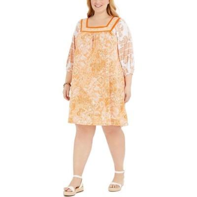 マイケル コース Michael Kors レディース ワンピース 大きいサイズ ワンピース・ドレス Plus Size Paisley Popover Dress Nectarine