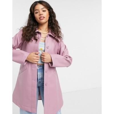 モンキ レディース ジャケット・ブルゾン アウター Monki Rori patent jacket with belt in pink
