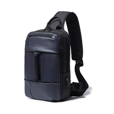 SWITISAN メンズ 多機能 ショルダーバッグ 斜めがけ ボディバッグ 大容量 (ブルー)