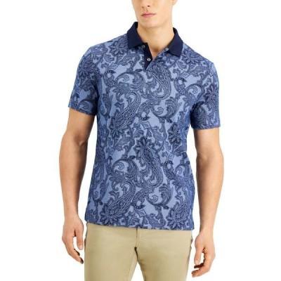 タッソエルバ ポロシャツ トップス メンズ Men's Regular-Fit Paisley-Print Polo Shirt, Created for Macy's Navy Blue Combo