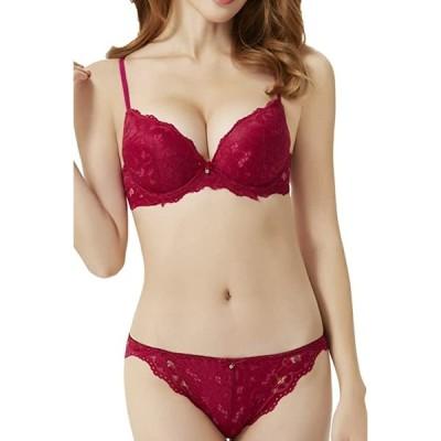 ブラジャー ショーツ 女性 下着 セット 谷間 メイク 紐 改良 可愛い セクシー ランジェリー 赤 紫 色(5:ワインレッド, XL)