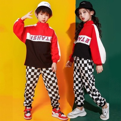 黒白チャック柄 ヒップホップ パンツ キッズ ダンス 衣装 ダンス 衣装 ヒップホップ 韓国 キッズダンス衣装