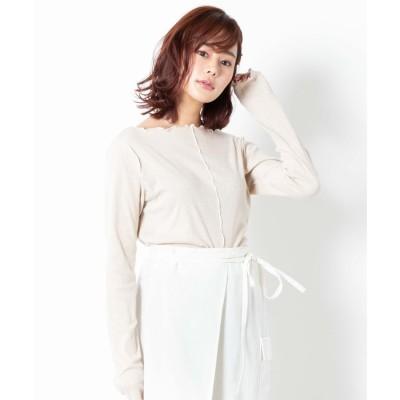 WEGO WEGO/ガーゼフライス配色メロウロンTシャツ(ライトベージュ)【返品不可商品】