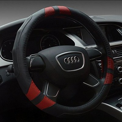 車 ステアリング・ホイール アクセサリー Cdycam Breathable Leather Auto Steering Wheel Cover , Heavy Duty ,Anti-Slip Universal 15 inch (Red) 正規輸入品