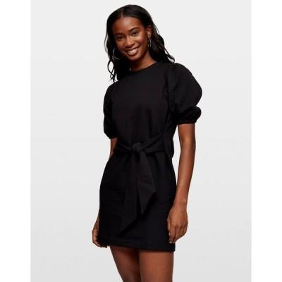 ミスセルフフリッジ レディース ワンピース トップス Miss Selfridge puff sleeve sweatshirt dress in black Bk1