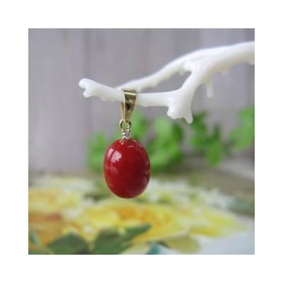 高知産赤珊瑚のオーバルペンダントトップ/K18/ダイヤモンド0.01ct/『宝石サンゴ』