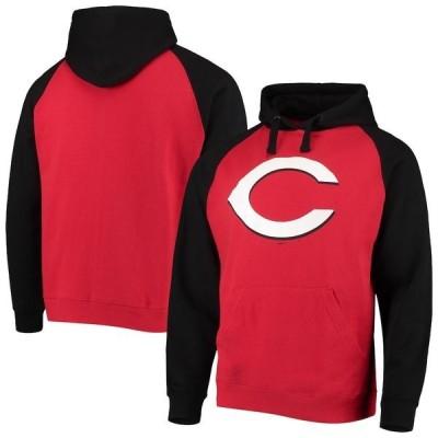 スティッチーズ メンズ パーカー・スウェット アウター Cincinnati Reds Stitches Color Block Raglan Pullover Hoodie