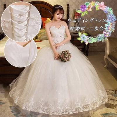 ウェディングドレス ワンピース 白 ビスチェ レース ?身 花嫁ドレス パーティードレス イブニングドレス 披露宴 演奏会