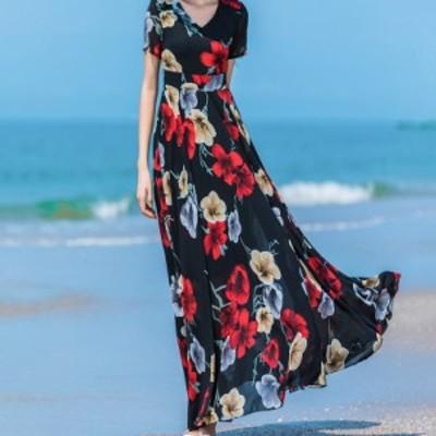 カシュクールワンピースロング 半袖 マキシワンピース 花柄のワンピース シフォン Vネック 大きいサイズ 透ける ハワイアン エレガント