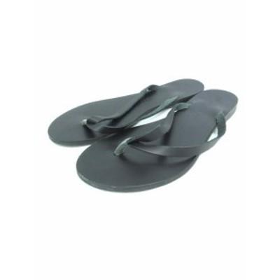 【中古】ニコラスライナス NICOLAS LAINAS レザー フラット サンダル トング ぺたんこ 靴 ブラック 36 レディース