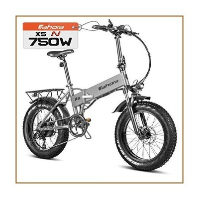 """eAhora X5 N 750W 20"""" Fat Tire Cruise Control Folding Electric Bike, Electric Bikes for Adults, Dual Disc Brakes/Shimano 7 Speed System for C"""