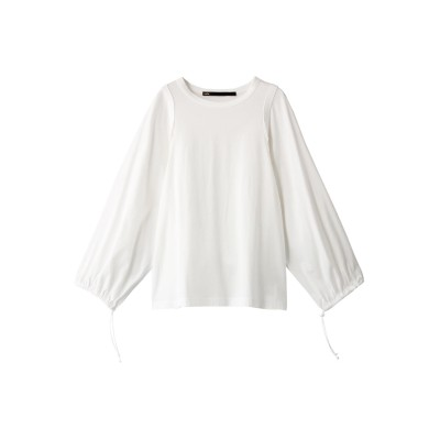 muller of yoshiokubo ミュラー オブ ヨシオクボ コットンロングギャザースリーブTシャツ レディース ホワイト 38