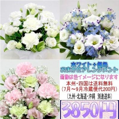 供花 ホワイト+各色 お供え用おまかせアレンジメント3,850円