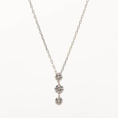 【中古】A品 ダイヤ ネックレス K18WG K18ホワイトゴールド ダイヤ0.663ct 2.4g レディース